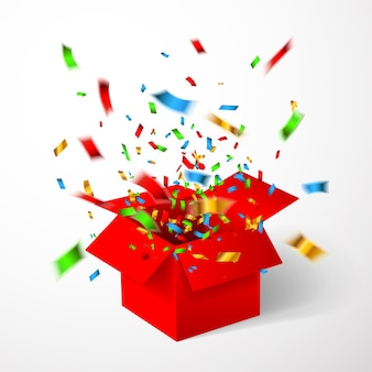 Open red gift box and confetti.