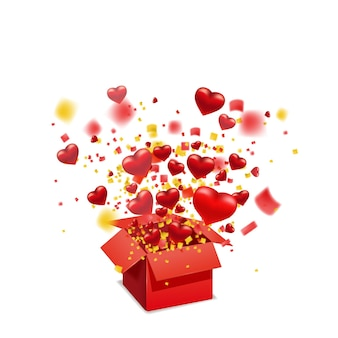 Open red gift box present with flying hearts and bright rays of light, burst explosion. happy valentines day gift box