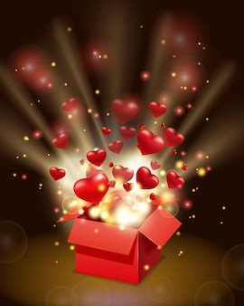 Open red gift box present with flying hearts and bright rays of light, burst explosion