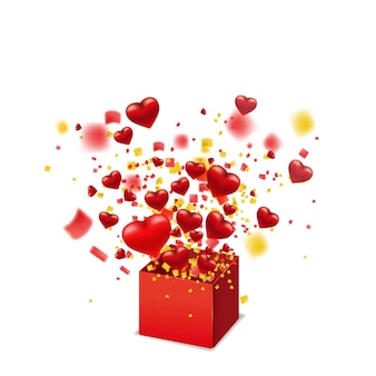 Open red gift box present with flying hearts, burst explosion confetti foil