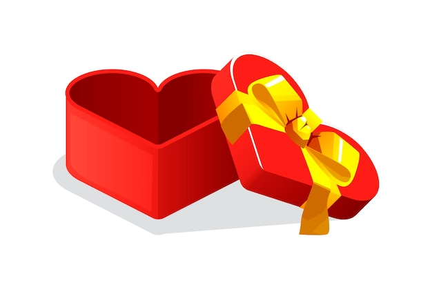 Open red heart shape gift box for games. vector illustration empty box with bow graphic element.