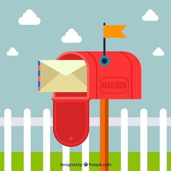 Open red mailbox background with envelope