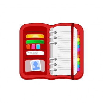 Open red spiral diary, notebook or personal organizer.