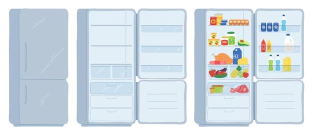 냉장고를 엽니다. 닫히고 비어 있고 식품 냉장고로 가득 차 있습니다. 육류, 유제품, 음료 및 캔이 있는 멋진 선반. 만화 부엌 냉동고 벡터 세트입니다. 그림 냉장고 장비 내부 저장