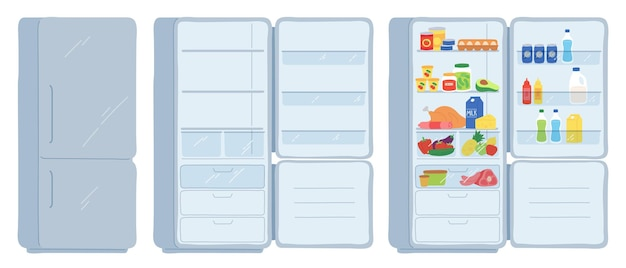 Open refrigerator. closed, empty and full of food fridge. cool shelves with meat, dairy, drinks and cans. cartoon kitchen freezer vector set. illustration refrigerator equipment inside storage