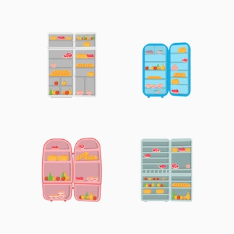 An open refrigerator door full of vegetables, fruits, meat and dairy products. Premium Vector
