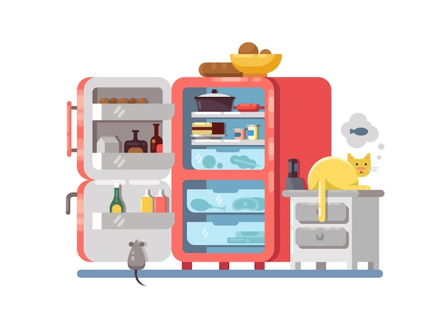 부엌에서 음식과 함께 냉장고를 엽니 다. 꿈꾸는 고양이 근처. 벡터 일러스트 레이 션