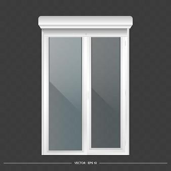 Open roller shutter on the euro window. realistic euro window with roller shutters vector.