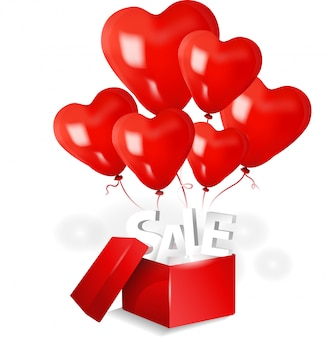 Open sale box with 3d red heart balloon on light background