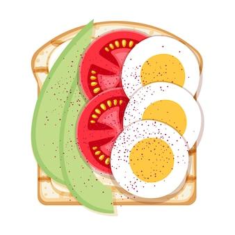 계란, 아보카도, 토마토와 함께 오픈 샌드위치.