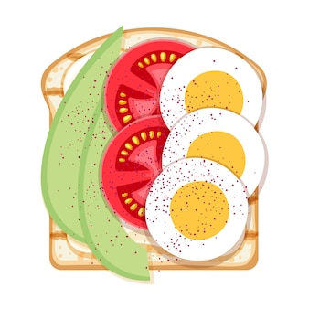 Open sandwich with eggs, avocado and tomatoes.