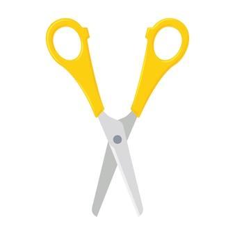 Ножницы открытые с желтыми пластиковыми ручками. коллекция канцелярских товаров и инструментов. плоский значок стиля. векторные иллюстрации, изолированные на белом фоне