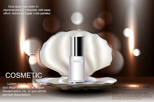 Open shell with pearl with a bottle of cosmetics for skin care. template advertising, design, poster, and more.