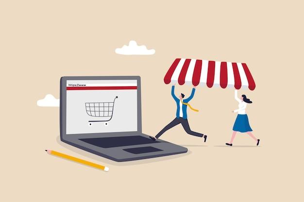 온라인 상점을 열고, 온라인으로 제품을 판매하는 전자 상거래 상점을 시작하고, 웹 사이트를 구축하고 인터넷 개념에서 가상 상점을 만들고, 비즈니스 사람들은 노트북 컴퓨터에 새 웹 사이트를 구축합니다.