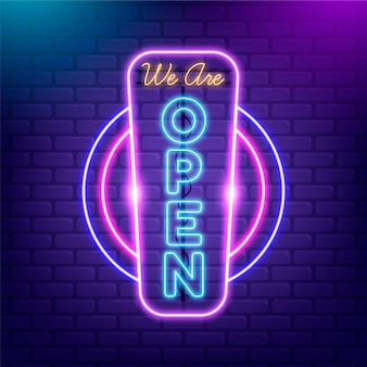 Open shop sign in neon lights