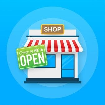 Open sign door. shop or market store front exterior facade.   illustration.