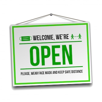 Open sign on the front door - welcome back. we are working again. keep social distance and wear face mask.  isolated on white