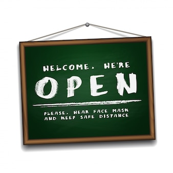 Open sign on green chalkboard in wooden frame. information sign for front the door about working again. keep social distance and wear face mask.  illustration  on white.