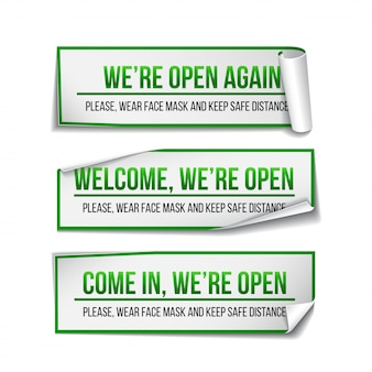 Open sign on green label - welcome back. set of information sign for front the door about working again. keep social distance and wear face mask.  illustration  on white.