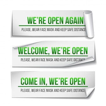 Open sign on green label - welcome back. set of information sign for front the door about working again. keep social distance and wear face mask.  isolated on white.