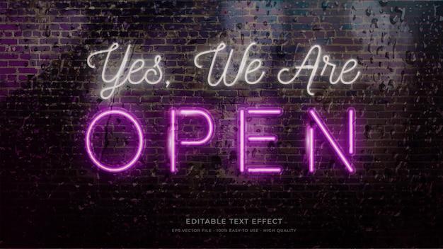 오픈 사인 네온 라이트 타이포그래피 편집 가능한 텍스트 효과