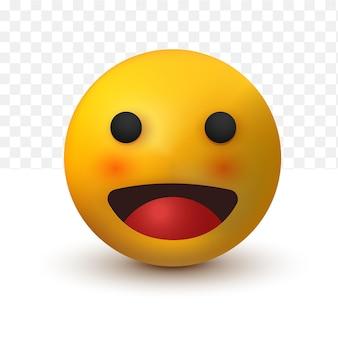 Open smile emoji 3d of social media reaction emoticon on white transparent background