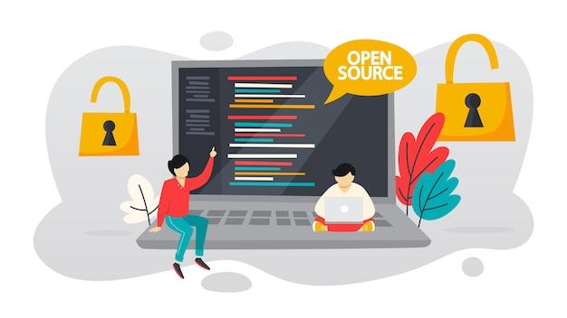 オープンソースのコンセプト。コンピュータ用の無料ソフトウェア。ファイルを無料でダウンロードしてインストールします。図