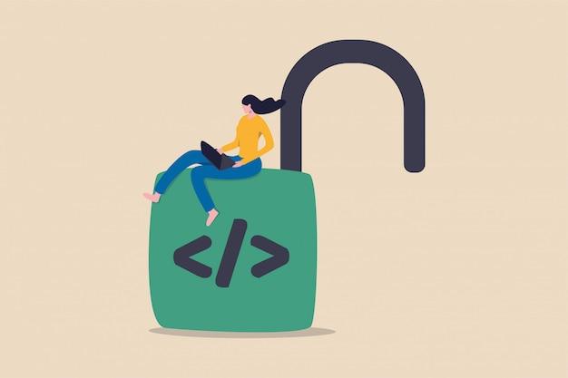 Иллюстрация программирования с открытым исходным кодом