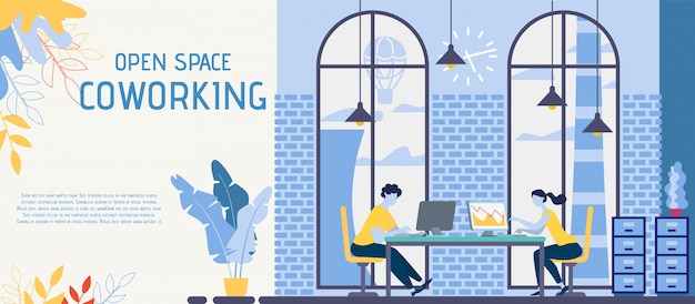 Open space, coworking office banner.