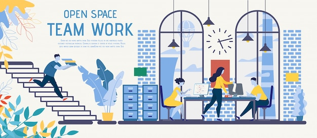 Open space coworking for teamwork vector ad banner