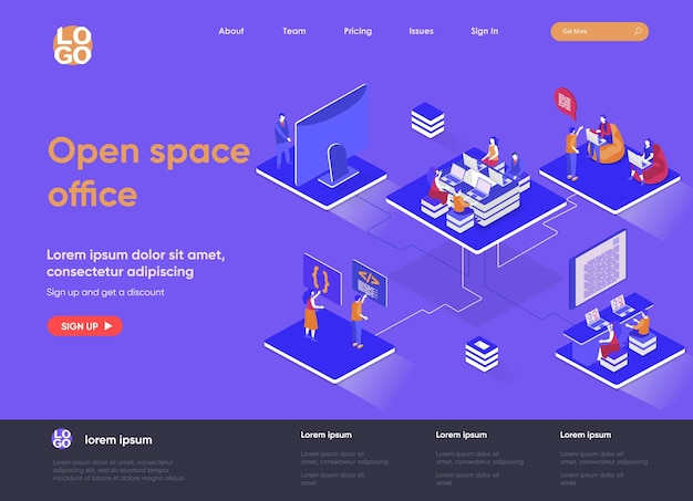 Open space office 3d isometric landing page illustration with people characters