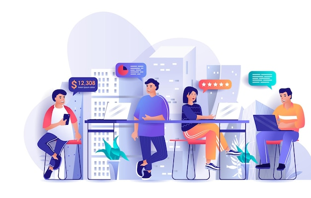 Open space office flat design concept illustration of people characters