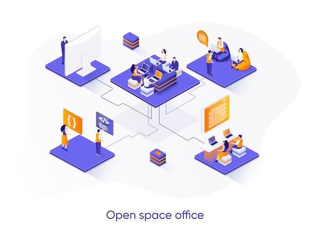 Открытое пространство офиса изометрической иллюстрации с персонажами людей