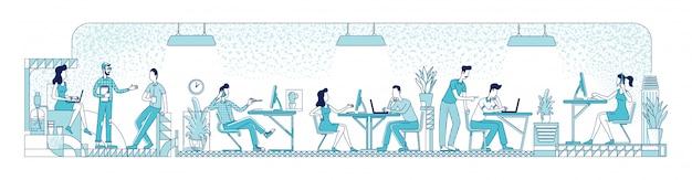 オープンスペースのオフィスワーカーのフラットシルエットイラスト。ビジネス人々、企業の労働者は、白い背景の上の文字を概説します。コワーキング場所で忙しい従業員のシンプルなスタイルの描画