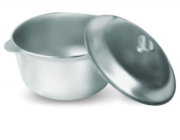 Open stainless pot. mesh and gradients only.