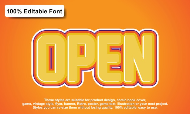 Open sticker text effect