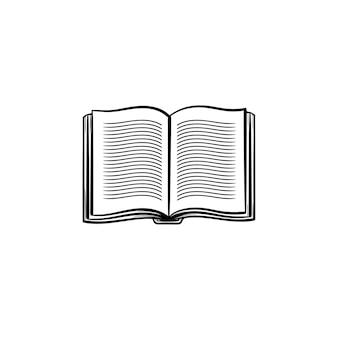 学生の本の手描きのアウトライン落書きアイコンを開きます。印刷、ウェブ、モバイル、白い背景で隔離のインフォグラフィックのための開いている学生の本のベクトルスケッチイラスト。