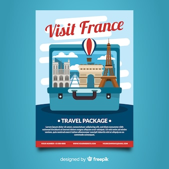 Open suitcase travel flyer template