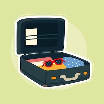 オープンスーツケース旅行
