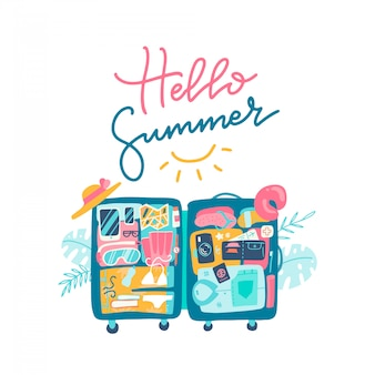 Open suitcase with the beach accessories inside the luggage. text lettering design of hello summer.  hand drawn flat illustration.