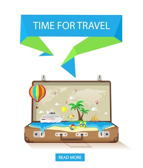 Open suitcase with exotic island on a white background