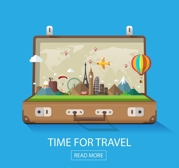 Open suitcase with landmarks on a blue background