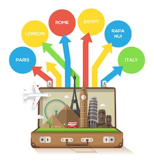 Open suitcase with landmarks on a white background an multicolored directional arrows