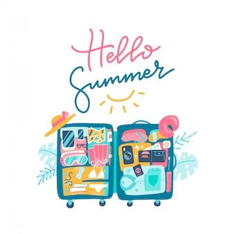 荷物の中にビーチアクセサリーが入ったスーツケースを開きます。 hello summerのテキストレタリングデザイン。手描きフラットイラスト。