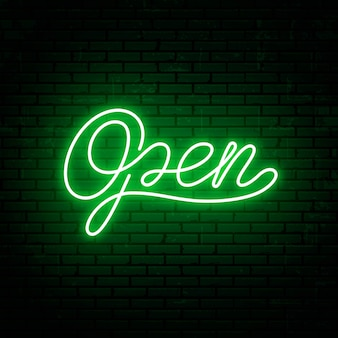 Open - template inscription for neon signboard. neon text for shop, barbershop, cafe and motel.