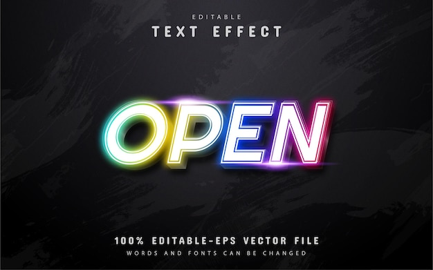 Open text, colorful neon style text effect