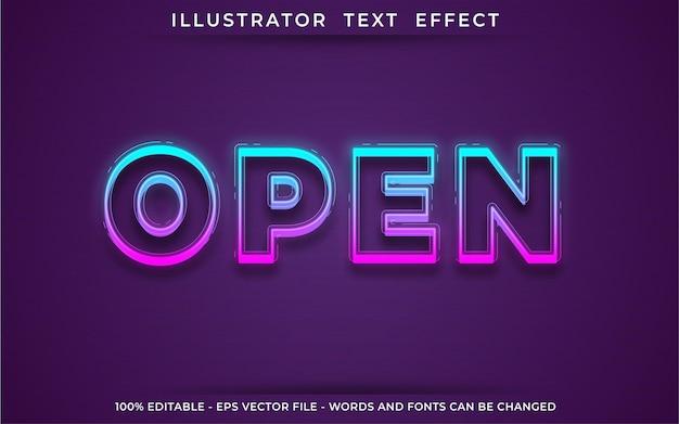 Open text effect, editable 3d text style
