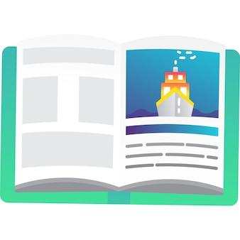 Книга вектор значок открытый учебник, изолированные на белом фоне