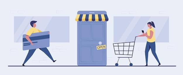 온라인 쇼핑 일러스트레이션의 문을 엽니 다.