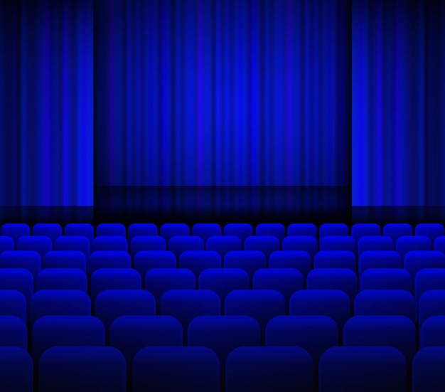 Open theater blue curtains with light and seats.